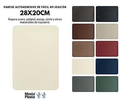 MastaPlasta Reparación Cuero, Polipiel y Skai - Parches Adhesivos Rectangulo XL (200x280mm) (Marfil)