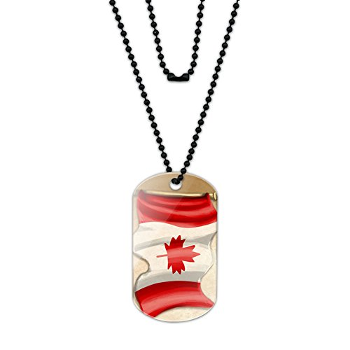 Vintage Canadian Flag Canada Acrylic Dog Tag with Black Ball - Ball Chain Canada