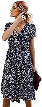 TSEINCE Vestido de Playa de Verano para Mujer Elegante Estampado Floral con Cuello en v Botón de Manga Corta Vestidos a Media Pierna Casual Lady Ruffle Slim Holiday Boho Dress