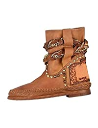 yoyoiop Women's Chain Roman Style Bare Boots Flat Slip-On Casual Short Tube Booties