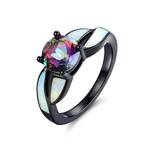 Barzel Black Rhodium Plated Brass Created Opal & Mystic Topaz Ring (5)