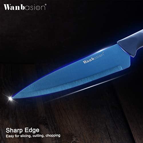 WANBASION BLUE PROFESSIONAL KITCHEN KNIFE CHEF SET, KITCHEN KNIFE SET STAINLESS STEEL, KITCHEN KNIFE SET DISHWASHER SAFE WITH SHEATHES