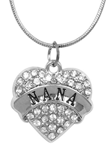 [Mother's Day Gift for Nana Necklace Engraved Gift Jewelry For Nana Crystal Adorned Heart Shaped Pendant Snake Chain Necklace Gift for Mom or Grandma] (Bollywood Costumes For Men)