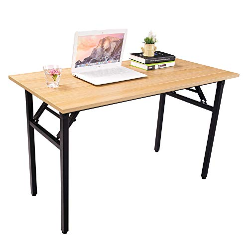 Halter Folding Computer Desk – Foldable Writing Study Table for Home Office Desk Use – Teak Black