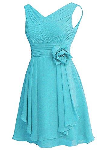 YOUAREFACNY Women's V Neck Chiffon Short Bridesmaid Dresses