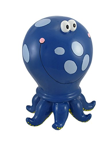 Blue Polka Dot Octopus Children`s Coin Bank 10 In. (Octopus Resin compare prices)