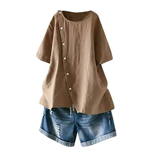 Cewtolkar Women Summer Tops Plus Size Blouse Cotton and Linen Tunic Button Tees O Neck T Shirt Short Sleeve Top Khaki