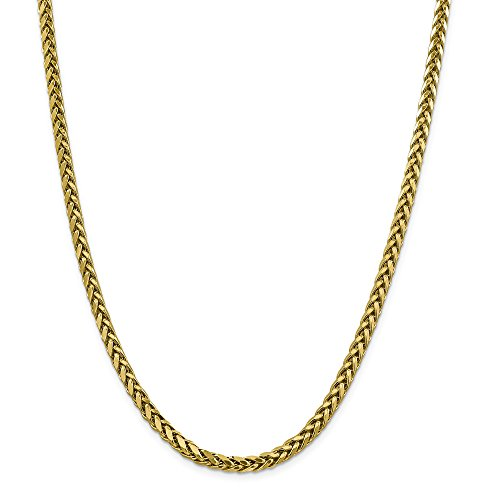 ICE CARATS 14k Yellow Gold 5mm Link Wheat Chain Necklace 18 Inch Spiga Oval Fine Jewelry Gift Set For Women Heart by ICE CARATS