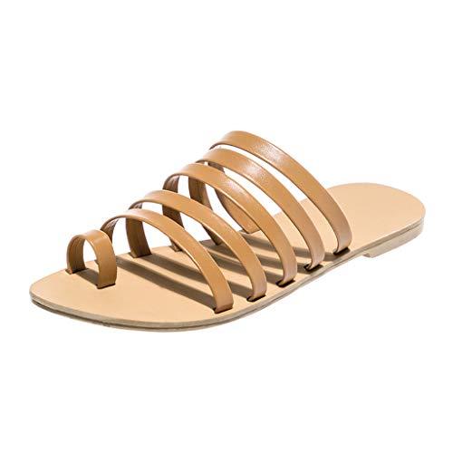 Seaintheson Women Slipper, Women's Spring Summer Beach Shoes Heel Strap Sandals Roman Flats Retro Casual Single Shoes Brown