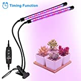 Grow Light, Grow Lights for Indoor Plants, Coson 18W 40 LED Bulbs Timming Plant Grow Lamp with Red, Blue Spectrum, 3/9/12H Timer, Dual Head Adjustable Gooseneck, 10 Garden Labels