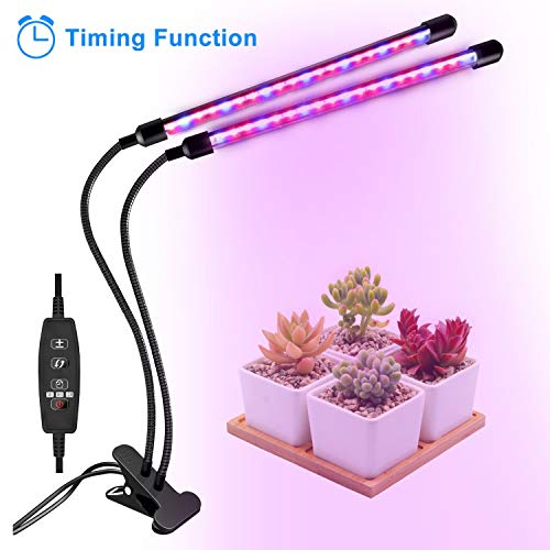 (Grow Light, Grow Lights for Indoor Plants, Coson 18W 40 LED Bulbs Timming Plant Grow Lamp with Red, Blue Spectrum, 3/9/12H Timer, Dual Head Adjustable Gooseneck, 10 Garden Labels )