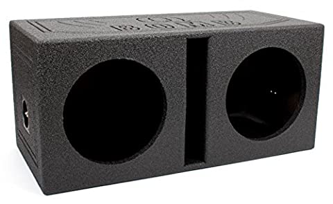 Q Power QBOMB10V Dual 10 Inch Vented Port Subwoofer Sub Box w/ Bedliner Spray (10 In Sub With Box)