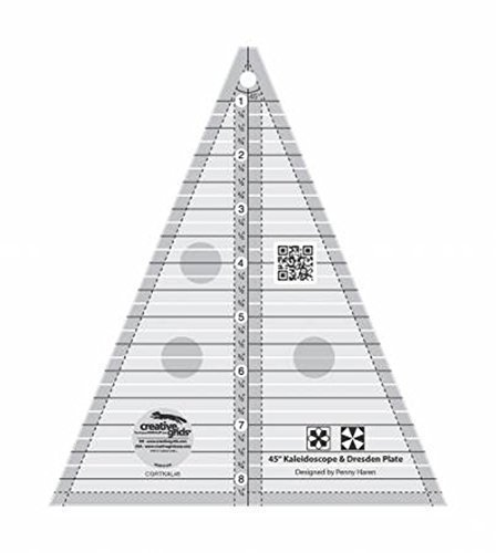 - Creative Grids 45 Degree Kaleidoscope or Dresden Plate Triangle Quilting Ruler Template CGRTKAL45