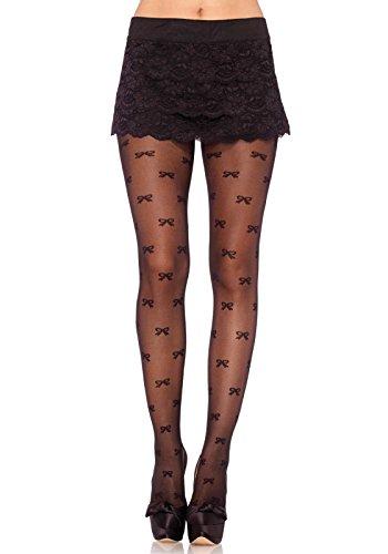 Leg Avenue Women's Vintage Bow Sheer Pantyhose, Black, One Size