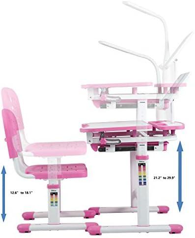 Ubbie Kids Desk And Chair Set,Height Adjustable Children Study Desk With Tilt Desktop & Metal Hook & LED Light & Bookstand And Storage Drawer For Boys Girls Red