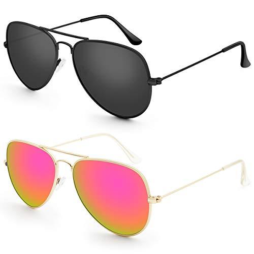 Livhò G 2 Pack of Sunglasses for Men Women Aviator Polarized Metal Mirror UV 400 Lens Protection (Black Grey+Bobbl ()