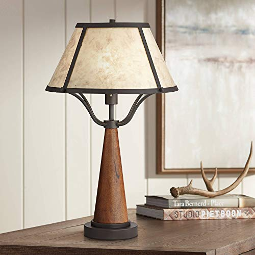 Idyllwild Rustic Table Lamp Warm Wood and Metal Light Mica Shade for Living Room Bedroom Nightstand Office Family - Franklin Iron -
