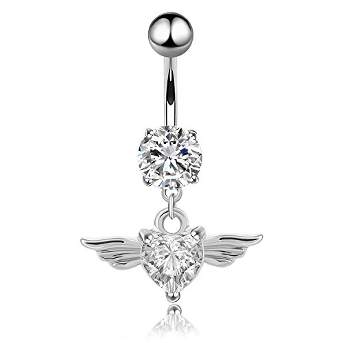 Belly Button Rings 14G Angel Wings Dangle Navel Rings Stainless Steel Body Piercing Jewelry (Crystal Clear (Angel Belly Ring)