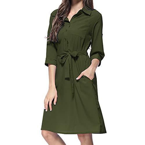 REXINTE Women V Neck Roll Tab Sleeve Dresses Tie Waist Shirt Dress Summer Button Down Gown Turndown Collar Tunic 2019 New(Army Green, L)