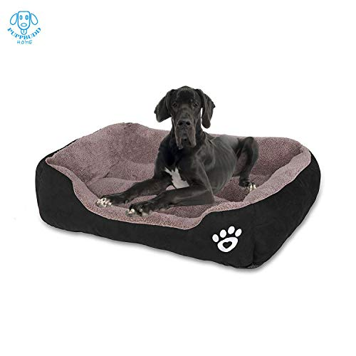 PUPPBUDD Dog Bed for Large Dogs Washable Comfortable Safety Pet Sofa Extra Firm Cotton Breathable for Medium and Small Dog Black