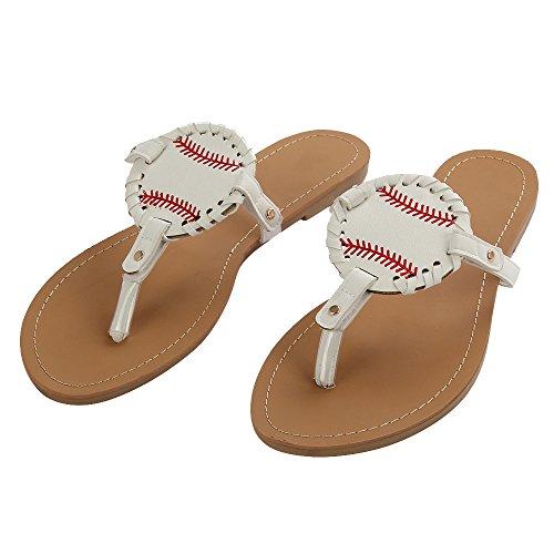 Softball Flip Flops For Women Ladies Sandals Slipper Leather Baseball Sport (9 B(M) US,White)