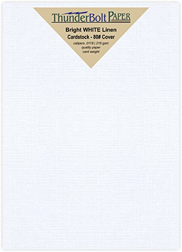 Fine Linen Cover Paper (175 Bright White Linen 80# Cover Paper Sheets - 5