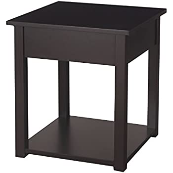 asense 20 height simplistic end table bedroom night stand square table brown. Black Bedroom Furniture Sets. Home Design Ideas
