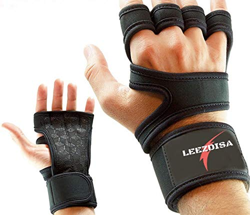 LEEZDISA Ventilated Weight Lifting Gloves for Cross Training Workout Gym Fitness Full Palm Protection & Extra Grip Great for Pull Ups Men & Women