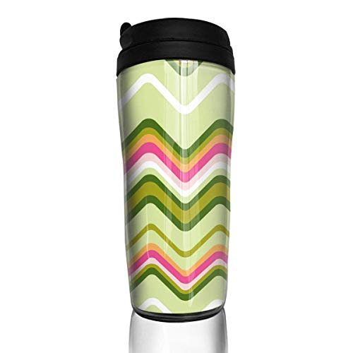 Custom Reusable Coffee Cup Chevron Pink Green Pictures Tumbler Vacuum-Insulated Travel Mug Hot Or Cold,12 Oz.with Lids -