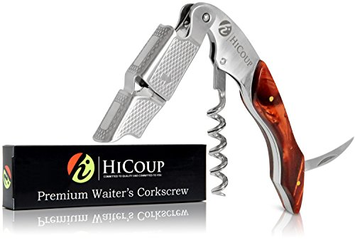 Professional Waiter's Corkscrew by HiCoup - Tiger's Eye Resin Handle All-in-one Corkscrew, Bottle Opener and Foil Cutter, the Favored Choice of Sommeliers, Waiters and Bartenders Around the World by HiCoup Kitchenware