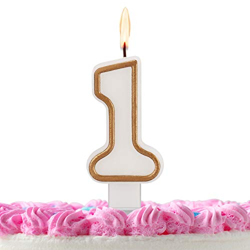 ESEOE Birthday Candles, Gold White Birthday Candles Numbers for Birthday Cakes, Birthday Numbers Candles for Christmas/Birthday/Wedding/Reunion/Theme Part (1)