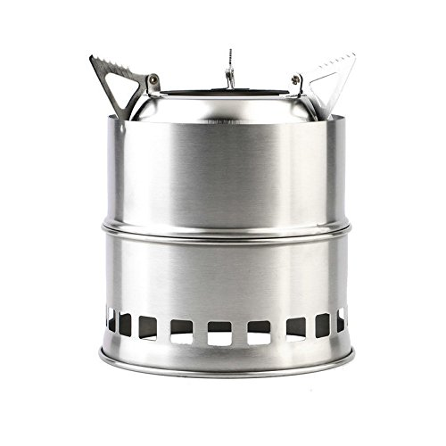 Finlon Camping Stove Stainless Steel Backpacking Stove Potable Wood Burning Stoves for Picnic BBQ Camp Hiking (Burning Piping Wood)