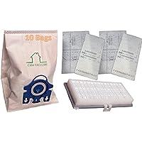 Miele GN Bags 3D Efficiency 10 Bags + 1 SF-HA30 HEPA AirClean + 4 Filters C1 S2 S400 S600 Bundle, Replaces part #s 10123210 & 09616270. by Casa Vacuums