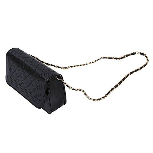 TOOGOO(R) Borse di cuoio delle donne del sacchetto di spalla delle borse del messaggero delle donne bianca Nero