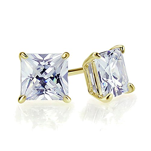 0.1 Carat (ctw) Diamond Solid 14K Yellow Gold 2mm Princess Cut Solitaire Diamond Stud Earrings