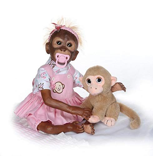 - NPK collection 21inch Lifelik Handmade Reborn Monkey Baby Doll Newborn Chimpanzee Monkey Soft Silicone Vinyl Flexible Collectible Art Doll for Kids Gift