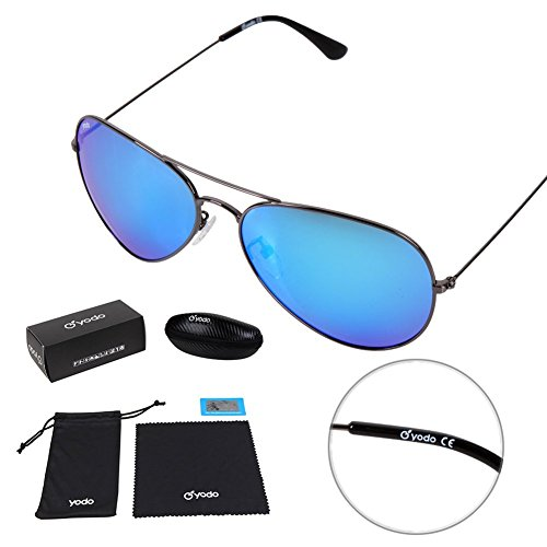 Yodo Classic Aviator Sunglasses Polarized for Men&Women,100% UV Protection,Metal Frame Colored Lense with Carrying Case,Ice Blue