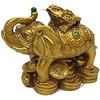 OMG-Deal Feng Shui Elefante con Rana per Saggezza e Successo, ricchezza, Forza