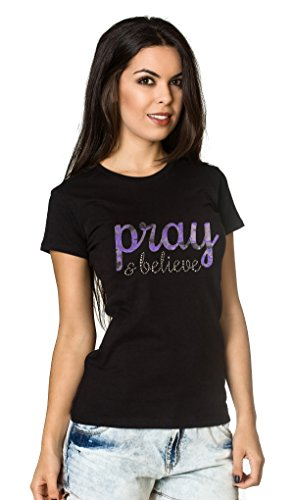 Living Water Women's Lace Rhinestones Christian Jesus T-Shirt Pray & Believe Tee -