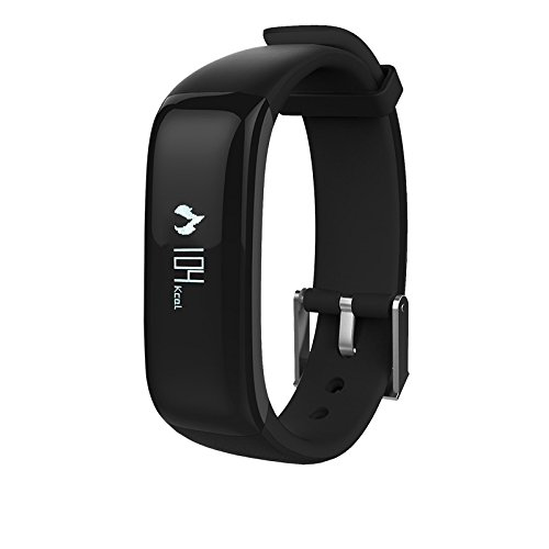 Kassica Health Fitness Tracker with Heart Rate Monitor and Blood Pressure Sports Smart Wristband Pedometer Smart Bracelet Bluetooth Smart Watch for IOS IPhone Android Samsung Phones (Black)