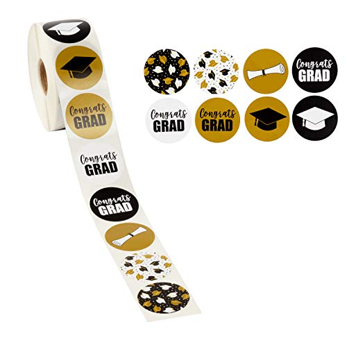 (Graduation Stickers - 1000-Count Favor Label Sticker Roll with Various 2019 Graduation Printed Designs Featuring Graduation Caps and Diplomas, Graduation Party Favors, 1.5)