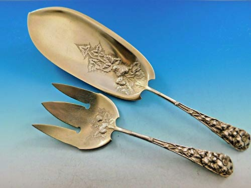 Eglantine by Gorham Sterling Silver Fish Serving Set Gold Washed w/Strawberries (Serving Set Sterling Fish)