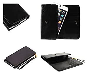 DFV mobile - Cover Premium Crazy Horse PU Leather Wallet Case with Card Slots for => ARCHOS 50b Neon > Black
