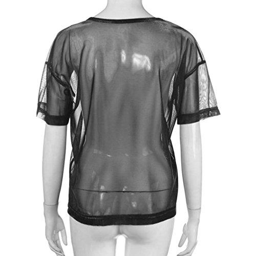 Donne Scollo Corte Camicetta Shirt estive Maniche T Nero Ragazza Top Rotondo Cave Sexy beautyjourney Manica Maglietta Trasparente Corta Manica Maglietta Corte Donna x6nqtOX8