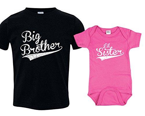 Texas Tees Baseball T-Shirts for Siblings, Big Bro Lil Sis, Includes Adult Small & 0-3 mo