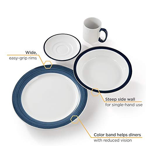 Libbey Intuitive Diningware 4-Piece Rigel Banded Senior Dinnerware Set, White/Blue