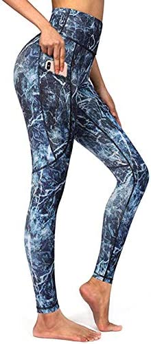 Ourmall High Waist Leggings for Women Butt Lift,Womens Leggings-Through High Waisted with Pockets Tummy Control Yoga Pants Workout Running Legging