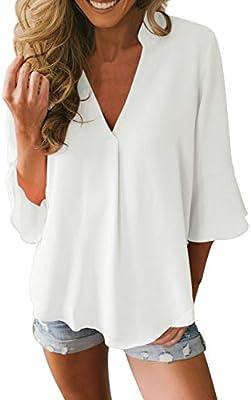 Fashion Women V Neck Long Sleeve Chiffon Casual Ladies Shirt Loose Tops Blouse