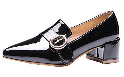 Aisun Womens Buckle Strap Pointed Toe Dress Block Mid Heels Slip On Pumps Wear To Work Office Shoes Black 4EjT7wez