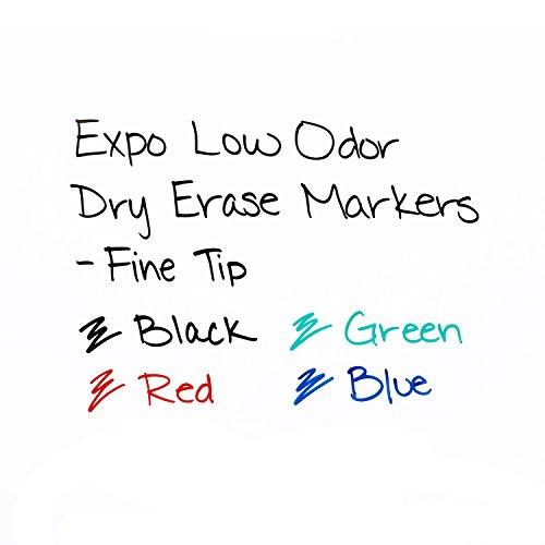 EXPO 86001 Marcador de borrado en seco de bajo olor, punta fina, negro (paquete de 12)